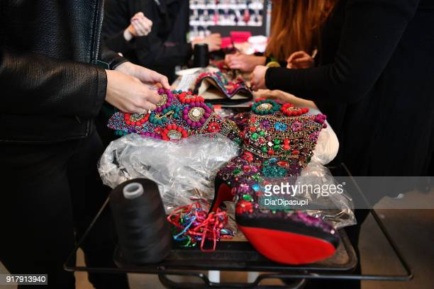 A view of the shoe detail backstage for Naeem Khan during New York Fashion Week The Shows at Gallery I at Spring Studios on February 13 2018 in New...