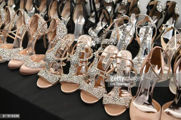 A view of the shoes backstage at Badgley Mischka during New York Fashion Week The Shows at Gallery I at Spring Studios on February 13 2018 in New...