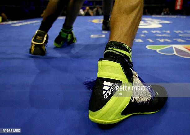 A view of the shoes of Chris Algieri as he takes on Errol Spence Jr during their welterwieght bout at Barclays Center on April 16 2016 in the...