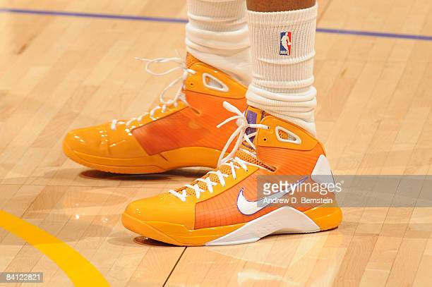 A view of the shoes of DJ Mbenga of the Los Angeles Lakers before taking on the Boston Celtics at Staples Center on December 25 2008 in Los Angeles...