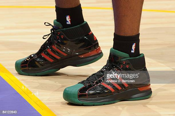 A view of the shoes of Kendrick Perkins of the Boston Celtics before taking on the Los Angeles Lakers at Staples Center on December 25 2008 in Los...