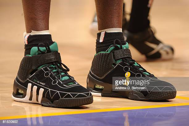 A view of the shoes of Kevin Garnett of the Boston Celtics while taking on the Los Angeles Lakers in Game Three of the 2008 NBA Finals at Staples...