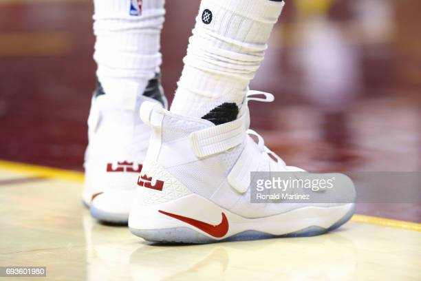 A view of the shoes of LeBron James of the Cleveland Cavaliers against the Golden State Warriors during the first half of Game 3 of the 2017 NBA...