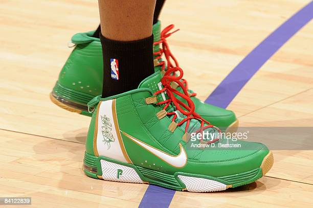 A view of the shoes of Paul Pierce of the Boston Celtics before taking on the Los Angeles Lakers at Staples Center on December 25 2008 in Los Angeles...