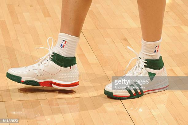 A view of the shoes of Sun Yue of the Los Angeles Lakers before taking on the Boston Celtics at Staples Center on December 25 2008 in Los Angeles...