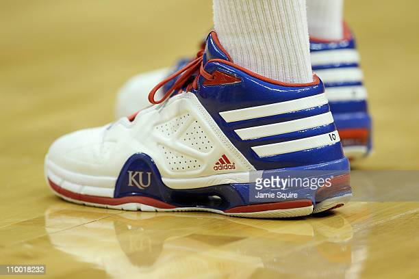 A view of the shoes of Tyshawn Taylor of the Kansas Jayhawks during their semifinal game against the Colorado Buffaloes in the 2011 Phillips 66 Big...