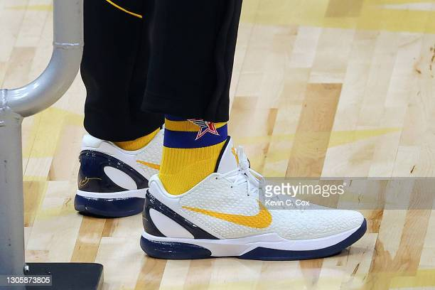 View of the shoes worn by Domantas Sabonis of the Indiana Pacers as he competes in the 2021 NBA All-Star - Taco Bell Skills Challenge during All-Star...