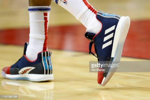 A view of the shoes worn by James Harden of the Houston Rockets in the first half against the Phoenix Suns at Toyota Center on March 15 2019 in...