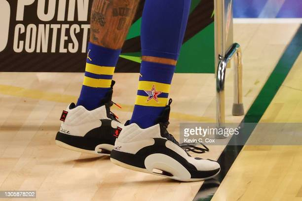 View of the shoes worn by Jayson Tatum of the Boston Celtics as he competes in the 2021 NBA All-Star - MTN DEW 3-Point Contest during All-Star Sunday...
