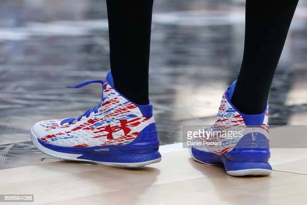 A view of the shoes worn by Josh Boone of Melbourne United during the round 12 NBL match between Melbourne United and the Brisbane Bullets at Hisense...