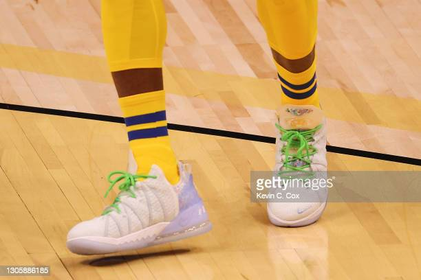 View of the shoes worn by Lebron James of Team LeBron during the first half in the 70th NBA All-Star Game at State Farm Arena on March 07, 2021 in...