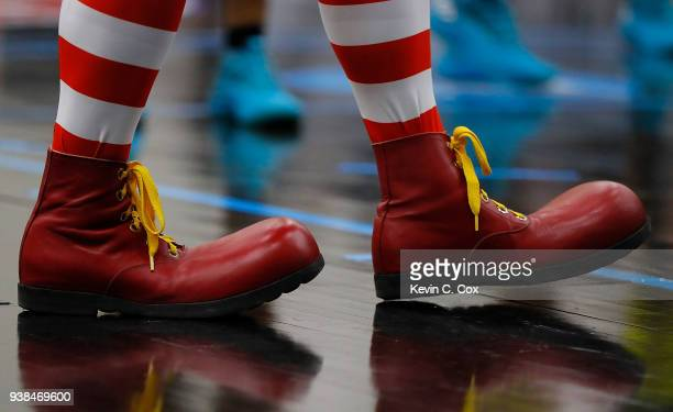 A view of the shoes worn by Ronald McDonald prior to the 2018 McDonald's All American Game POWERADE Jam Fest at Forbes Arena on March 26 2018 in...