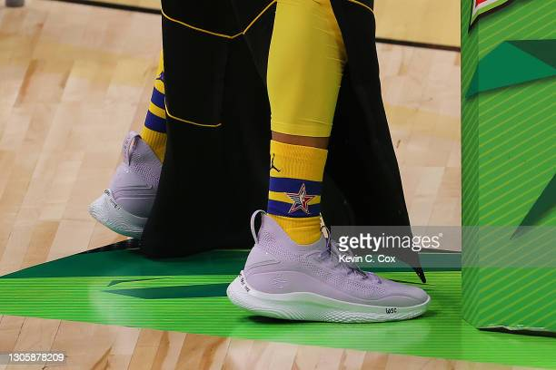 View of the shoes worn by Stephen Curry of the Golden State Warriors prior to the 2021 NBA All-Star - MTN DEW 3-Point Contest during All-Star Sunday...