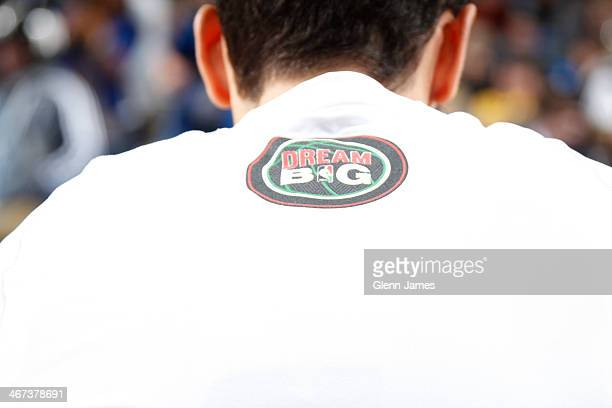 View of the shooting shirt worn during Black History Month during a game between the Cleveland Cavalier and Dallas Mavericks on February 3 2014 at...