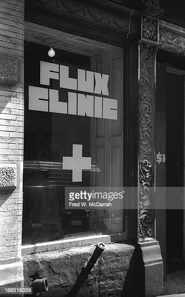 View of the shopfront window of the FluxClinic a performance 'happening' New York New York April 28 1970