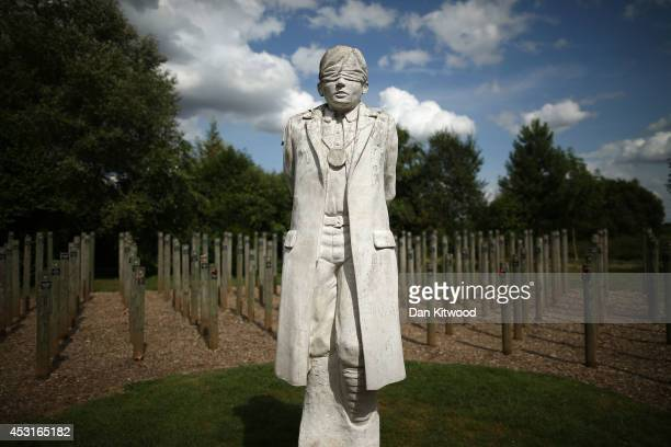 View of the Shot at Dawn Memorial at The National Memorial Arboretum on August 4, 2014 in Stafford, England. Monday 4th August marks the 100th...
