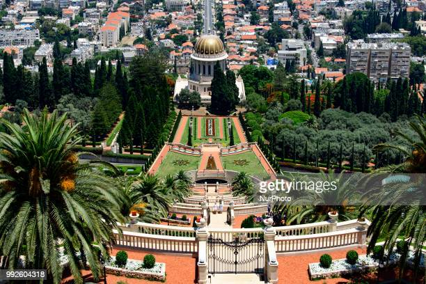 View of the Shrine of the Báb and the Bahai Gardens on Mount Carmel in Haifa, Israel on June 24, 2018. The Bahai Center in Haifa is the religions...