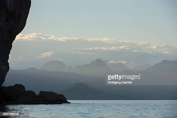 View of the Sierra de la Giganta from the bay of Aqua Verde a small fishing village near Loreto Sea of Cortez in Baja California Mexico