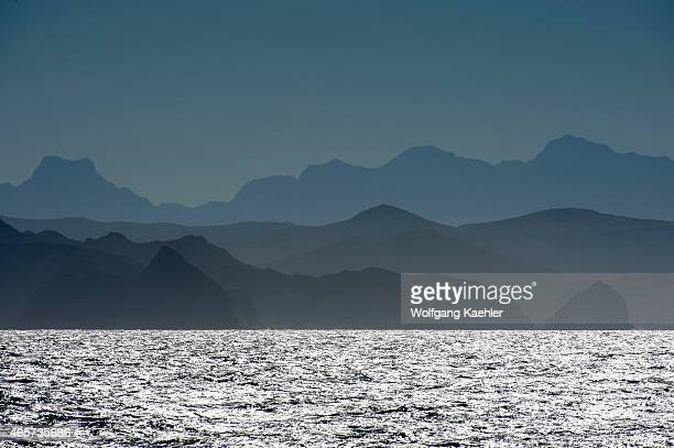 View of the Sierra de la Giganta in haze from the Sea of Cortez near Loreto Baja California Mexico