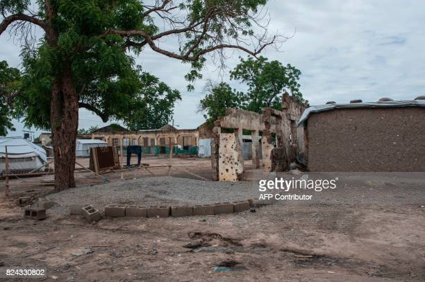 A view of the sight where the Nigerian Air Force mistakenly bombed the Rann InternallyDisplaced Peoples camp in northeastern Nigeria near the...