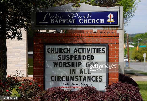 View of the sign at Lake Park Baptist Church as all church activities have been suspended due to the coronavirus on March 30, 2020 in Augusta,...