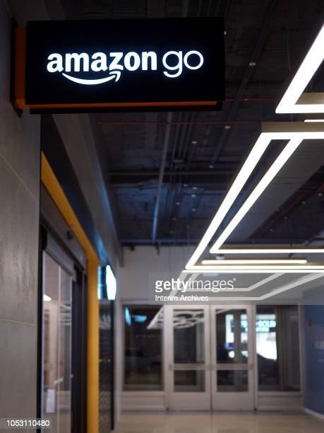 View of the sign for the Amazon Go store in Chicago Illinois October 9 2018 The store is located on 144 South Clark Street in the Chicago Loop...
