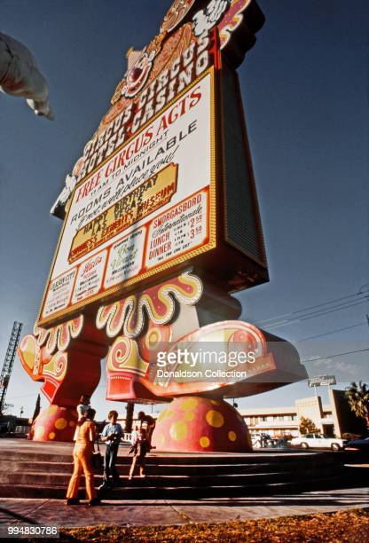 A view of the sign outside Circus Circus in October 1977 in Las vegas Nevada