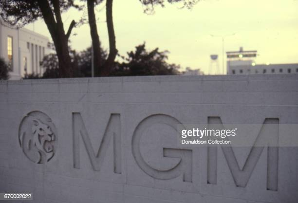 A view of the sign outside of MGM studios in October 1982 in Los Angeles California