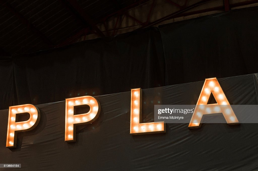 A view of the signage at the 2016 Planned Parenthood Los Angeles' food fare at Barker Hangar on March 3, 2016 in Santa Monica, California.