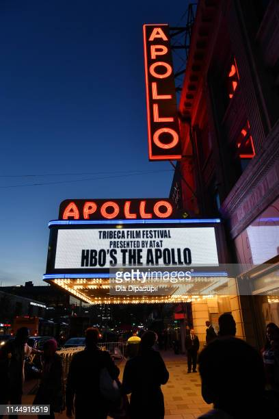 """View of the signage at the """"The Apollo"""" screening during the 2019 Tribeca Film Festival at The Apollo Theater on April 24, 2019 in New York City."""