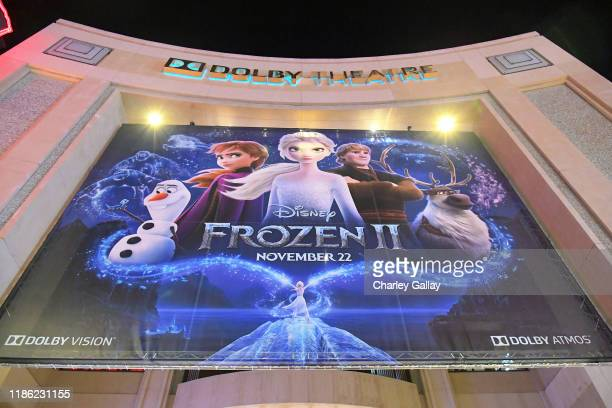 A view of the signage at the world premiere of Disney's Frozen 2 at Hollywood's Dolby Theatre on Thursday November 7 2019 in Hollywood California