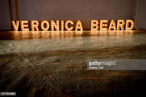 A view of the signage for the Veronica Beard Fall 2018 presentation at Highline Stages on February 12 2018 in New York City