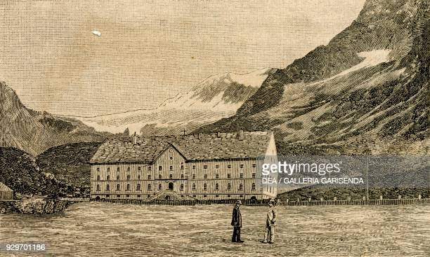 View of the Simplon Hospice Simplon Pass Switzerland woodcut from Le cento citta d'Italia illustrated monthly supplement of Il Secolo Milan 1890
