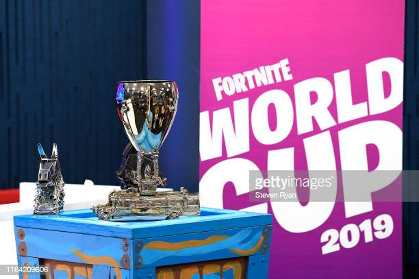 View of the singles trophy on display during previews ahead of the 2019 Fortnite World Cup World Cup on July 25, 2019 in New York City.