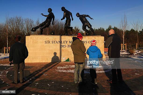 A view of the Sir Stanley Matthews statue outside the ground prior to during the Barclays Premier League match between Stoke City and West Bromwich...