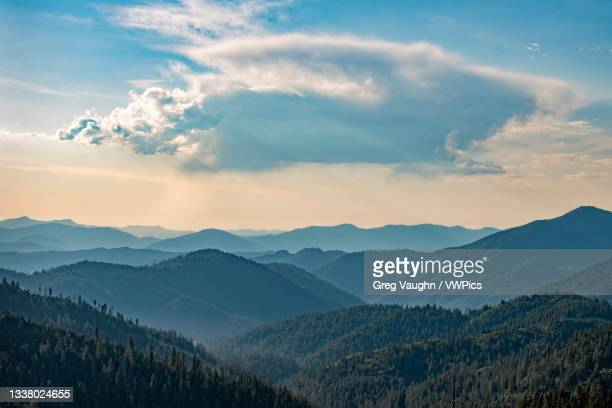 view of the siskiyou mountains from cliff nature trail in oregon caves national monument, southern oregon. - siskiyou stock pictures, royalty-free photos & images
