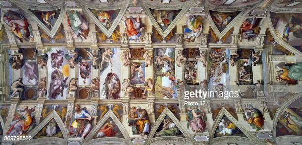 View of the Sistine Chapel celling painted by Michelangelo di Lodovico Buonarroti Simoni an Italian sculptor painter architect poet and engineer of...