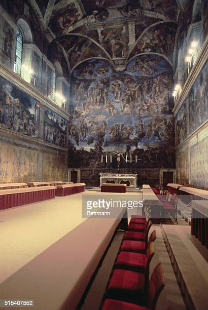A view of the Sistine Chapel with 15thcentury frescoes by Michelangelo