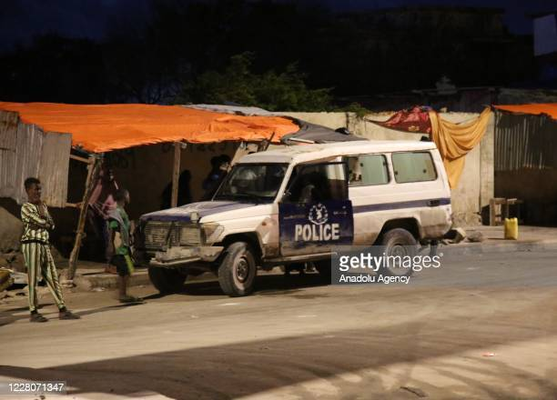 A view of the site after a terror attack with a bombladen vehicle exploded a hotel on the Lido beach Mogadishu Somalia on August 16 2020 At least...