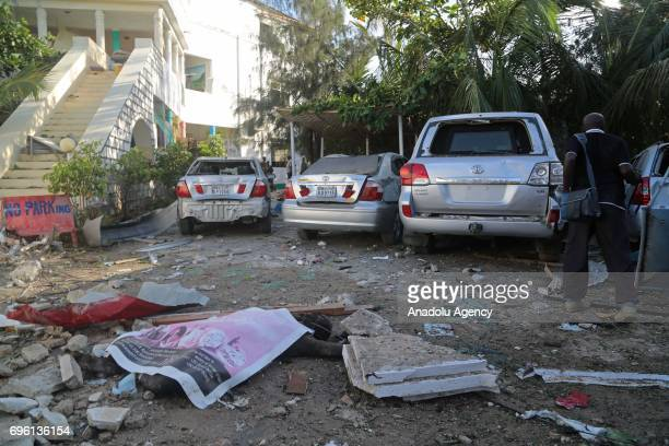 A view of the site after bombladen vehicle attack by AlShabaab militants to a restaurant in Mogadishu Somalia on June 15 2017 It is reported that...