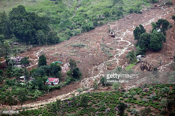View of the site of a landslide in the town of Koslanda in Badulla district, Sri Lanka about 220 kilometers east of Colombo on October 31, 2014.