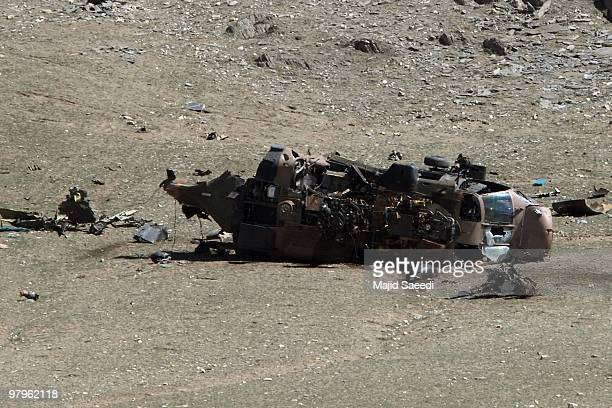 A view of the site of a NATO helicopter crash on the outskirts of Wardak city on March 23 2010 in Wardak province Afghanistan A NATO helicopter...
