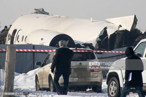 View of the site of a passenger plane crash outside Almaty on December 27, 2019. - Some 12 people died on December 27, 2019 and dozens were reported...
