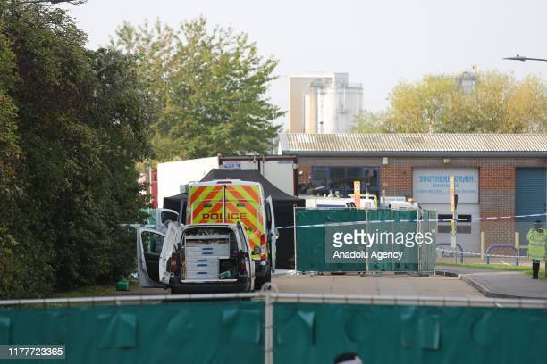 View of the site where 39 bodies were discovered in the back of a lorry on October 23, 2019 in Thurrock, United Kingdom. British police said the...