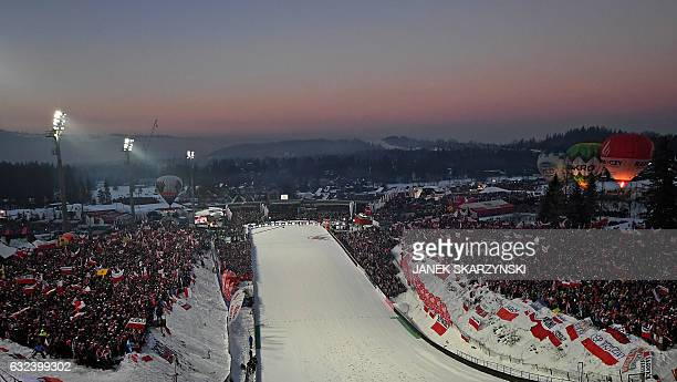 View of the ski jump in Zakopane during the competition of FIS Ski Jumping World Cup in Zakopane Poland on January 22 2017 / AFP / Janek SKARZYNSKI