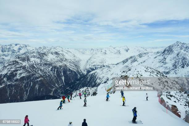 View of the ski run and mountains from the top of the Gaislachkogl mountain, Solden, Austria