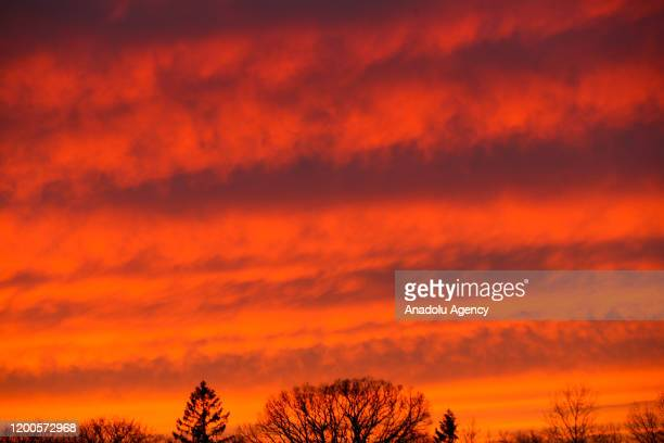 A view of the sky during sunset in New Jersey United States on February 13 2020