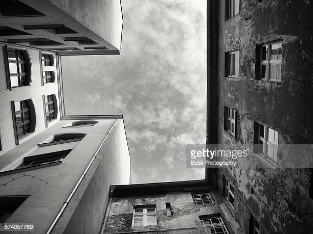View of the sky from a Berlin courtyard