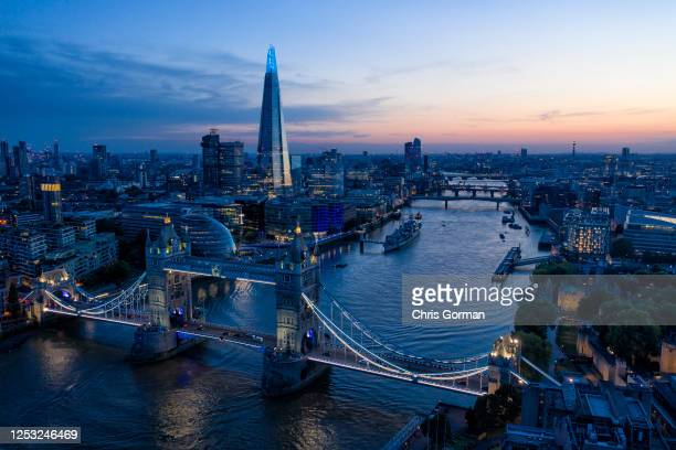 View of the sky line including Tower Bridge and the Shard at dusk on June 26, 2019 in London,England.