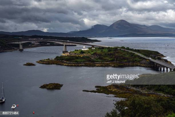 A view of the Skye bridge from the Plock viewpoint looking towards Beinn Dearg Bhead and Beinn Na Caillich on August 19 2017 in the Kyle of Lochalsh...